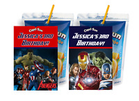 THE AVENGERS CAPRI SUN LABELS BIRTHDAY PARTY FAVORS SUPPLIES Suns PERSONALIZED