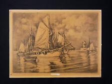 Paul Henry LAFON (XIX-XX) Fusain Voiliers au port de Quiberon Bretagne morbihan