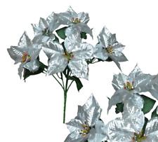 "5 Silver Poinsettia 20"" Bush Metallic Finish Christmas Holiday Silk Flower Decor"