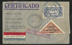 ZEPPELIN PARAGUAY TO GERMANY AIR MAIL COVER 1933