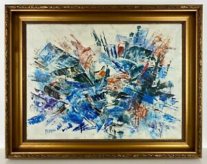 LATE 1900s CANADIAN MARCELLE FERRON LARGE ABSTRACT OIL /CANVAS PAINTING ORIGINAL
