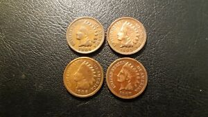 1904, 1905, 1906, 1907 US INDIAN HEAD BRONZE PENNIES 1 Cent Coins Circulated