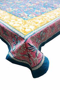 Indian Hand Block Print Tablecloth Kitchen Linen 100%Cotton Floral 150*220 cm