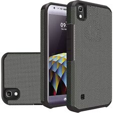Carbon Fiber Design Heavy Duty Dual Layer Hybrid Cover for LG Tribute HD LS676