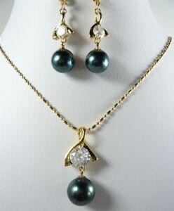 Black South Sea Shell Pearl 18KGP Cubic Zirconia Pendant Necklace Earrings Set
