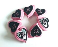 "5 STAMPED CHANEL STEEL HEARTS BUTTONS PINK BLACK CC 21.5 mm, 0.84"" lot of 5"