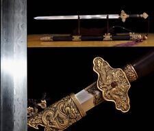 "Top Quality Chinese Sword ""Qing Jian""(劍) Pattern Steel Brass Sharp Ebony Sheath"
