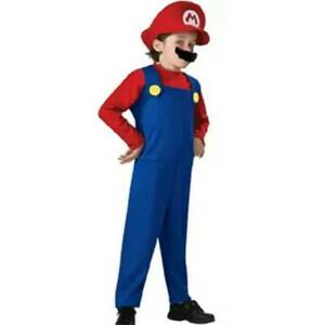 Super Mario Luigi Bros Dress Up Kids Girl Boy Cosplay Party Outfit Fancy Costume
