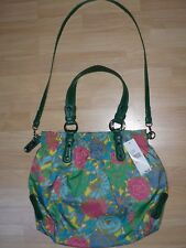NWT NINE WEST FLORAL FLOWER BL MOTIF GREEN VEGAN SHOULDER BAG PURSE SATCHEL $99