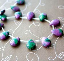 Strand of 26 beads - Malachite ruby zoisite synthetic, teardrops, gemstone beads