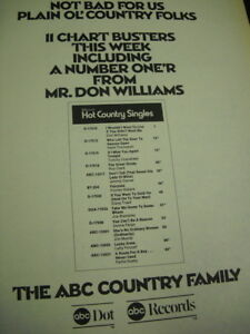 Mr. DON WILLIAMS has A Number One'r original Vintage PROMO POSTER AD mint cond