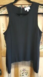 Nice WITCHERY sleeveless tank top with uneven hemline and chain fringe (size 10)
