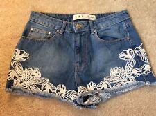 Primark Denim Shorts Embroidered Hem, UK Size 10 Immaculate