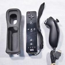 Black OEM Original Nintendo Wii Remote Controller Nunchuck Set RVL-003