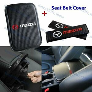 For MAZDA Embroidery Car Center Armrest Cushion Mat Pad w/ Seat Belt Cover Set