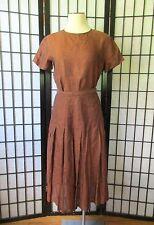 Vintage Calvin Klein 1970s 1980s Blouse Skirt 2 Piece Outfit Copper Linen 36 Top
