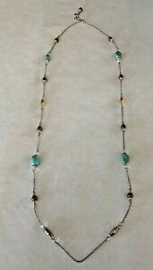 """Brighton Persiana Silver Gold Turquoise Long Necklace 44"""" - 46"""" adjustable"""
