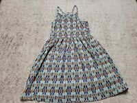 Roxy Girl Youth Dress Size 10 Light Blue Purple Orange White Pattern