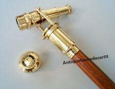Antique Brass Telescope Handle Wood Walking Stick Cane Spyglass Golden Polish