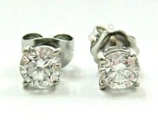 Gorgeous Solid 14K White Gold Round-cut natural Diamond Stud Earrings 0.78 ctw