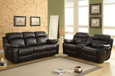 VALENCIA Living Room Furniture Black Faux Leather Recliner Sofa Couch Set NEW