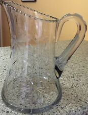 Elegant Vintage Glass Pitcher w/ Cut Cattail & Butterfly Design Crystal