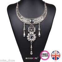 NEW SILVER ANTIQUE VINTAGE DROP STATEMENT NECKLACE INDIAN GYPSY CHOKER COLLAR UK