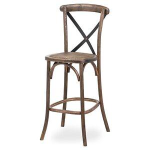 Tall Solid Oak Brown Cross Back Kitchen Dining Breakfast Bar Seat Chair Stool