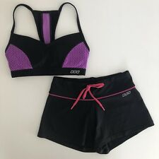 LORNA JANE Size XXS Lot Crop Top Sports Bra + Shorts Black Pink Purple Mesh