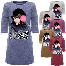 Tunika Kinder Mädchen Pullover Kleid Langarm Sweatshirt Printmotiv 22849 SALE