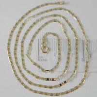 18K YELLOW WHITE ROSE GOLD FLAT BRIGHT OVAL CHAIN 24 INCHES, 2 MM MADE IN ITALY