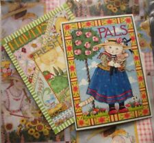 Mary Engelbreit Gift Wrap Gardening Greeting Card Cat Mouse Fresh Air Lot of 3