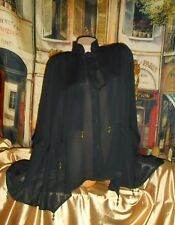 Usa Xs Black Semi Sheer Caped Swing Blouse Beads Small Goth Steampunk Rockabilly