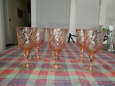 SET OF 6 ARCOROC OF FRANCE PINK SWIRL WINE GLASSES MINT CONDITION!!!