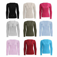 Women Ladies Long Sleeve Tie Lace Up V Neck Ribbed Knitted Stretched Jumper Top
