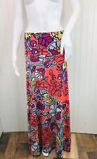 Lularoe Medium Maxi Skirt Orange Purple Blue Floral Print