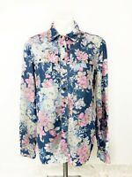 Vintage Guess Jeans Women's Blue Pink Floral Denim Snap Long Sleeve Top Size S