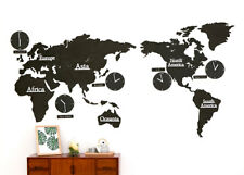 BIG Size Black DIY Eco Color board World Time Non Ticking Silent Wall Clock