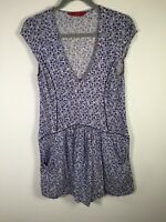 Tigerlily womens blue floral mini swing dress size 6 short sleeve rayon