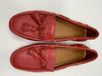 EUC! Authentic Coach Leather Loafers Driving Moccasins Tassels Red 8.5 B