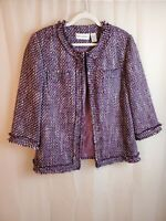 Alfred Dunner Womens Lined Tweed Fringe Blazer Jacket Size 16