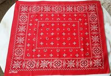 "Vintage Red 1950's Bandanna Trunk Up Classic Fast Color 100% Cotton 23"" x 20"""