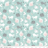 cats blue gray cute kittens fabric 100% cotton RIley Blake Purrfect day pink