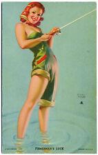 Rare FISHERMAN'S LUCK Moran CHEESECAKE PIN-UP Mutoscope Card (1940's) HOTCHA