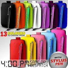 LEATHER PULL TAB SKIN CASE COVER POUCH & STYLUS FOR VARIOUS SAMSUNG MOBILE