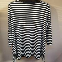 Talbots Bateau Neck Black & White Striped Knit Jersey Tunic Top Size 2XP NWT $89
