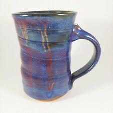 HANDMADE Signed Pottery Purple & Red Spiral Coffee Mug Cup 12oz