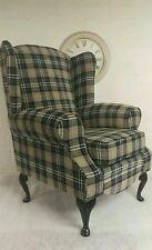 Wing Back/Queen Anne/Cottage Black/Grey Lana Tartan Chair.