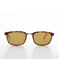 Tortoise Rectangular Preppy Vintage Horn Rim Sunglass w/Glass Brown Lens -Spence