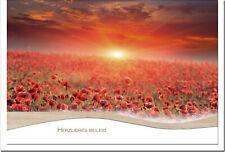 Kondolenzkarte Abschied  mohnfeld Im Sonnenuntergang   Metalum #01518